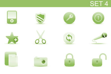 Vector illustration � set of elegant simple icons for common computer functions. Set-4