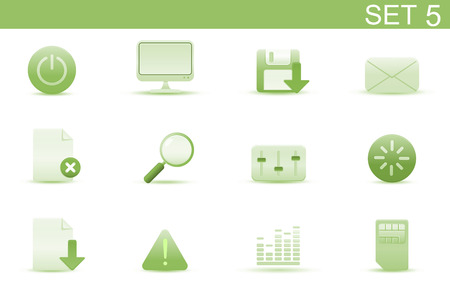 Vector illustration � set of elegant simple icons for common computer and media devices functions. Set-5 Vector