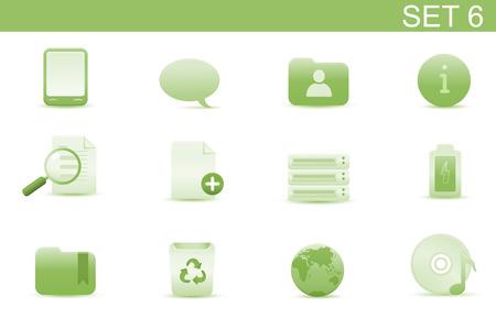 Vector illustration – set of elegant simple icons for common computer and media devices functions. Set-6 Vector