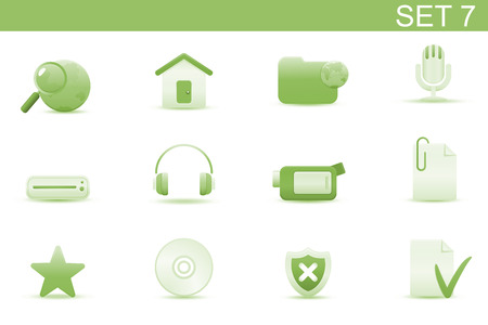 Vector illustration � set of elegant simple icons for common computer and media devices functions. Set-7 Vector