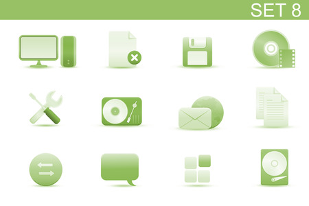 Vector illustration � set of elegant simple icons for common computer and media devices functions.Set-8 Vector