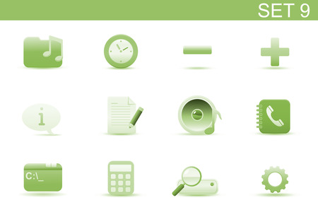 Vector illustration � set of elegant simple icons for common computer and media devices functions. Set-9 Vector