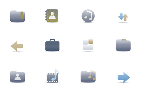 Vector illustration – set of elegant simple icons for common computer and media devices functions Vector
