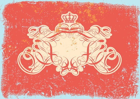 titling: Vector illustration of Grunge background with heraldic titling frame, blank so you can add your own images