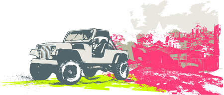 Vector illustration of stylized vintage military vehicle on the grunge urban background Vector