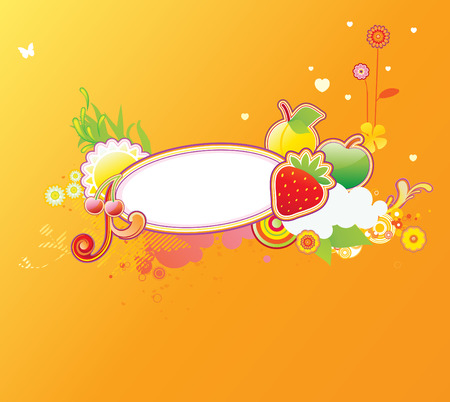 Vector illustration of funky styled design frame made of floral and fruity elements Stock Vector - 4907132