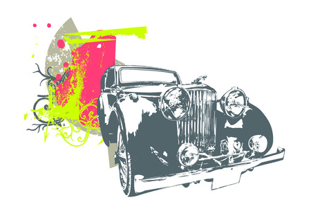 cobradores: Ilustraciones Vectoriales de la cosecha vieja costumbre de coches de colecci�n Vectores