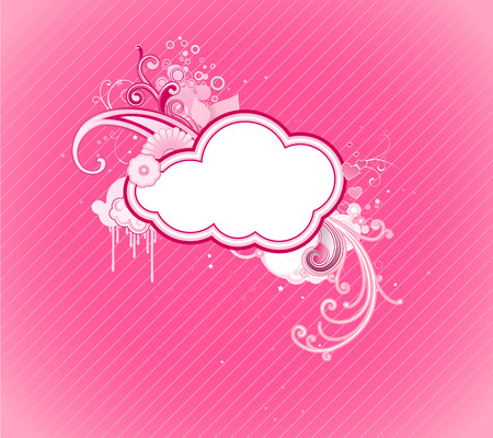 Vector illustration of funky retro styled design pink frame made of floral elements Vector