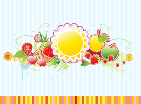 Vector illustration of funky styled design frame made of floral and fruity elements Vector