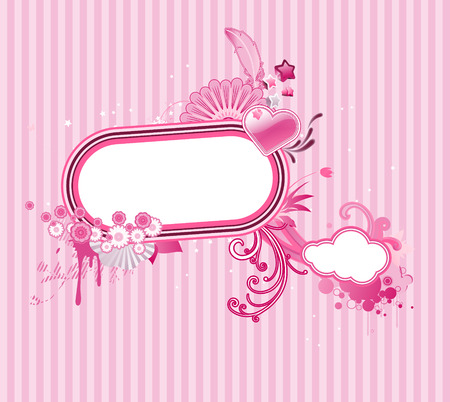 Vector illustration of funky styled design frame made of floral elements Vector