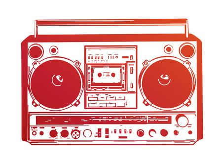 boombox: Vector illustration of vintage boombox