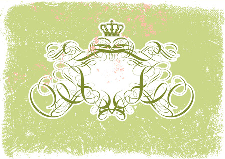 Vector illustration of Grunge background with heraldic titling frame, blank so you can add your own images Vector