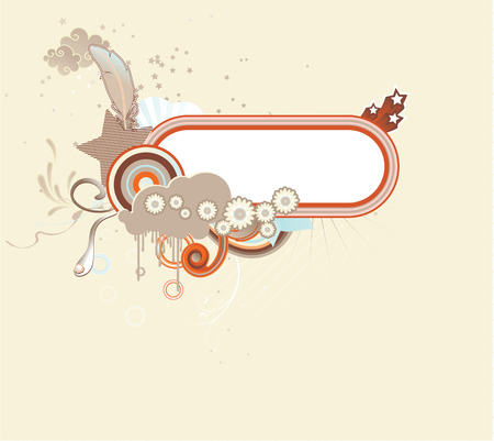 Vector illustration of funky retro styled design frame made of floral elements Vector