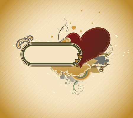 Vector illustration of Valentines abstract frame with heart shape and floral decoration elements Vector