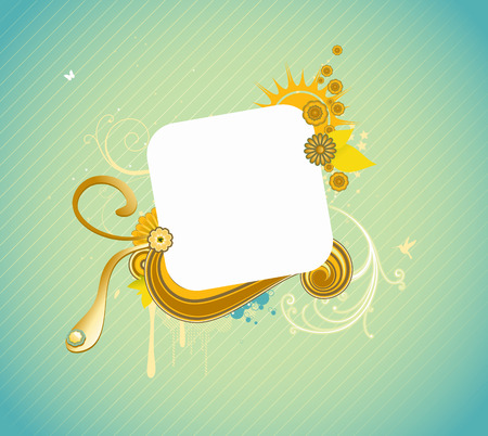 Vector illustration of funky styled design frame made of floral elements Stock Vector - 4989927