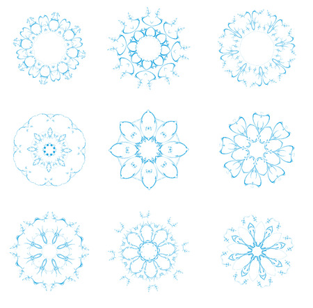 Vector illustration set of abstract floral and ornamental elements Vector