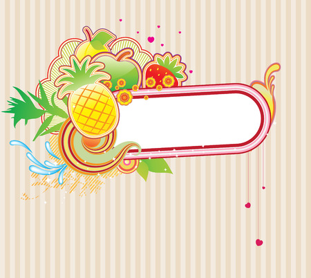 fruity: Vector illustration of funky styled design frame made of floral and fruity elements