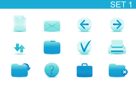 Vector illustration � set of blue elegant simple icons for common computer functions. Set-1 Vector