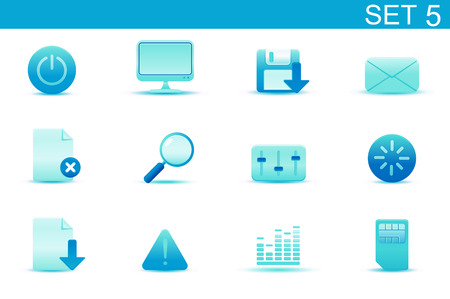 Vector illustration – set of blue elegant simple icons for common computer and media devices functions. Set-5 Stock Vector - 4989914