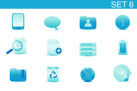 Vector illustration � set of blue elegant simple icons for common computer and media devices functions. Set-6 Vector