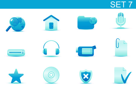 Vector illustration � set of blue elegant simple icons for common computer and media devices functions. Set-7 Vector