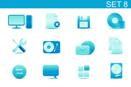 Vector illustration � set of blue elegant simple icons for common computer and media devices functions.Set-8 Vector