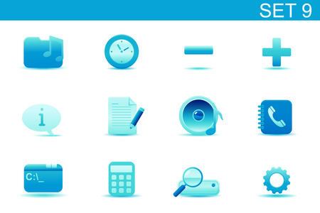 Vector illustration � set of blue elegant simple icons for common computer and media devices functions. Set-9 Vector