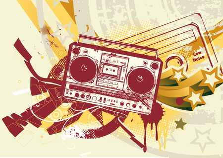 rap music: Vector illustration of Grunge styled urban background in graffiti style with cool Boom box.