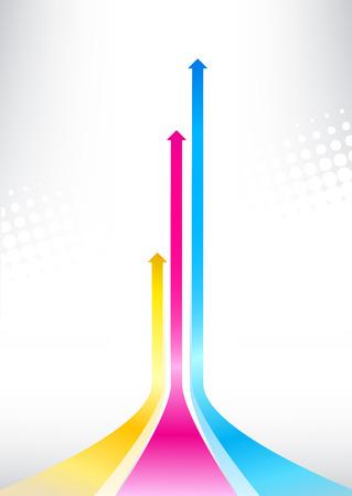 Ilustracji wektorowych ze strzałek drukowania kolorów