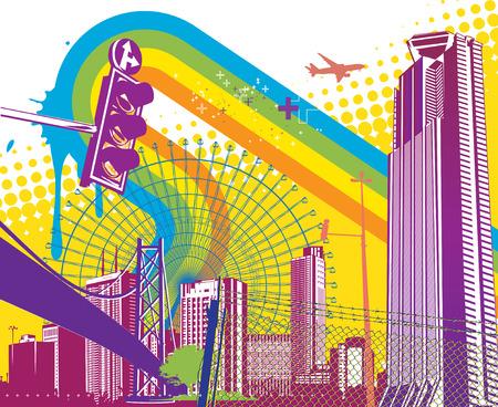 Illustration vectorielle de fond urbain de style Vecteurs