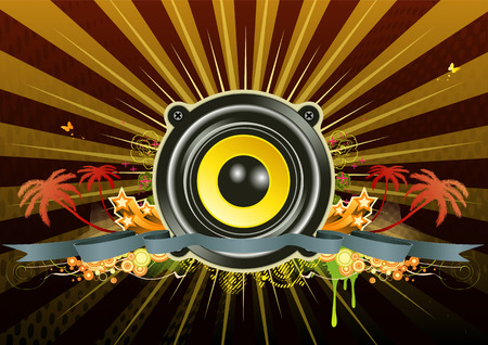 Vector illustration of urban music scene - Speaker with star wreath, ribbon and floral elements Vector
