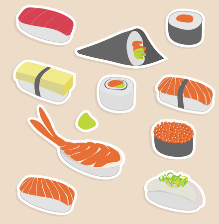 Vector illustration of sushi set make in sticker style Vector