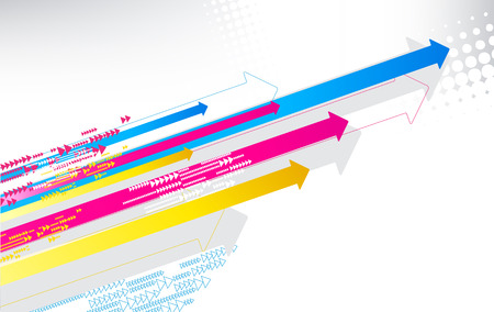 Ilustración vectorial de impresión en color de las flechas
