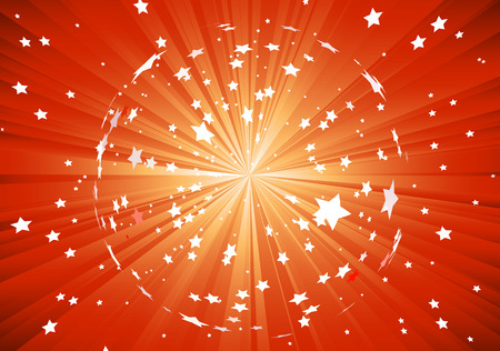Vector illustration of red background with light rays and burst of stars Vector
