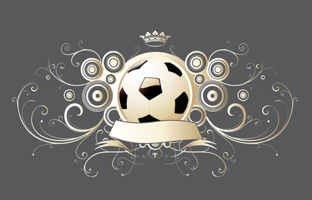 Vector illustration of winged soccer emblem with crown and banner. Vector