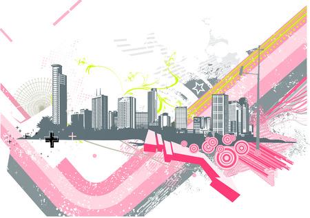 Vector illustration of retro style urban background Vector