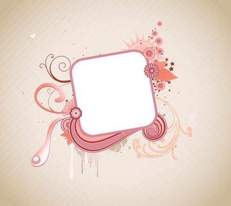 Vector illustration of funky styled design frame made of floral elements Stock Vector - 4989989