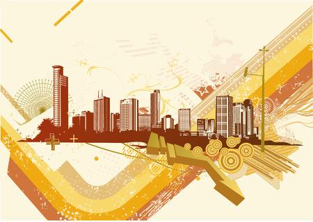 Vector illustration of retro style summer urban background Vector