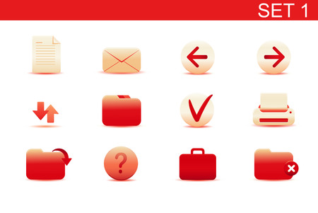Vector illustration – set of red elegant simple icons for common computer functions. Set-1 Stock Vector - 5001754