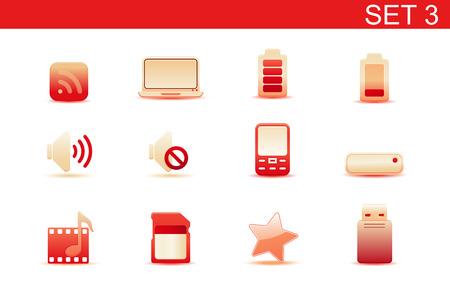 Vector illustration – set of red elegant simple icons for common computer and media devices functions.Set-3 Stock Vector - 5001751
