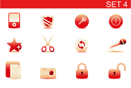 Vector illustration – set of red elegant simple icons for common computer functions. Set-4 Stock Vector - 5001753