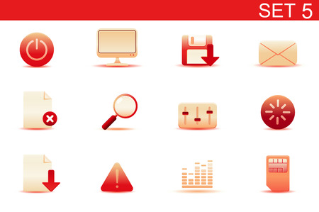 Vector illustration – set of red elegant simple icons for common computer and media devices functions. Set-5 Stock Vector - 5001760