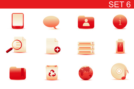 Vector illustration – set of red elegant simple icons for common computer and media devices functions. Set-6 Vector