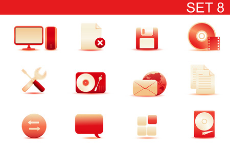 Vector illustration � set of red elegant simple icons for common computer and media devices functions.Set-8 Vector