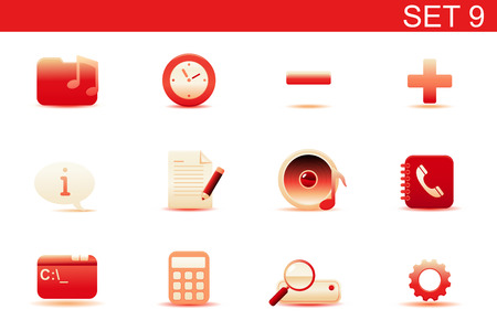 Vector illustration � set of red elegant simple icons for common computer and media devices functions. Set-9 Vector