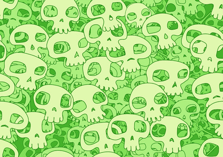 Vector illustration of funky pattern background made of many cool skulls Vector