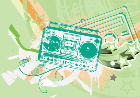 Vector illustration of Grunge styled urban background in graffiti style with cool Boom box. Vector