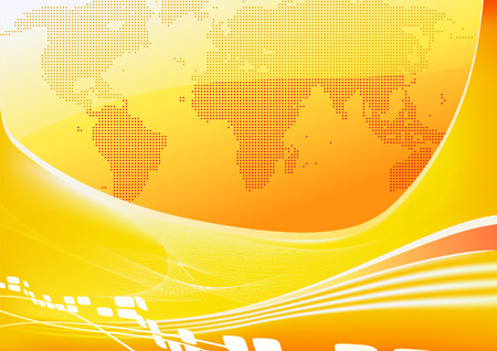 Vector illustration of stylised orange world map background  Vector