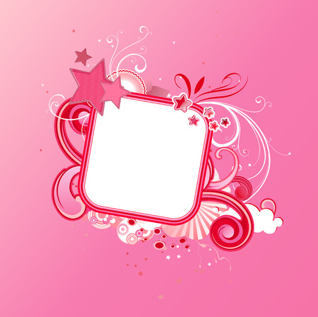Vector illustration of pink funky styled design frame made of floral elements and stars Vector