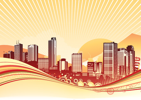 Vector illustration of Big City. Orange urban background with abstract composition of dots and curved lines.  Stock Vector - 5001825